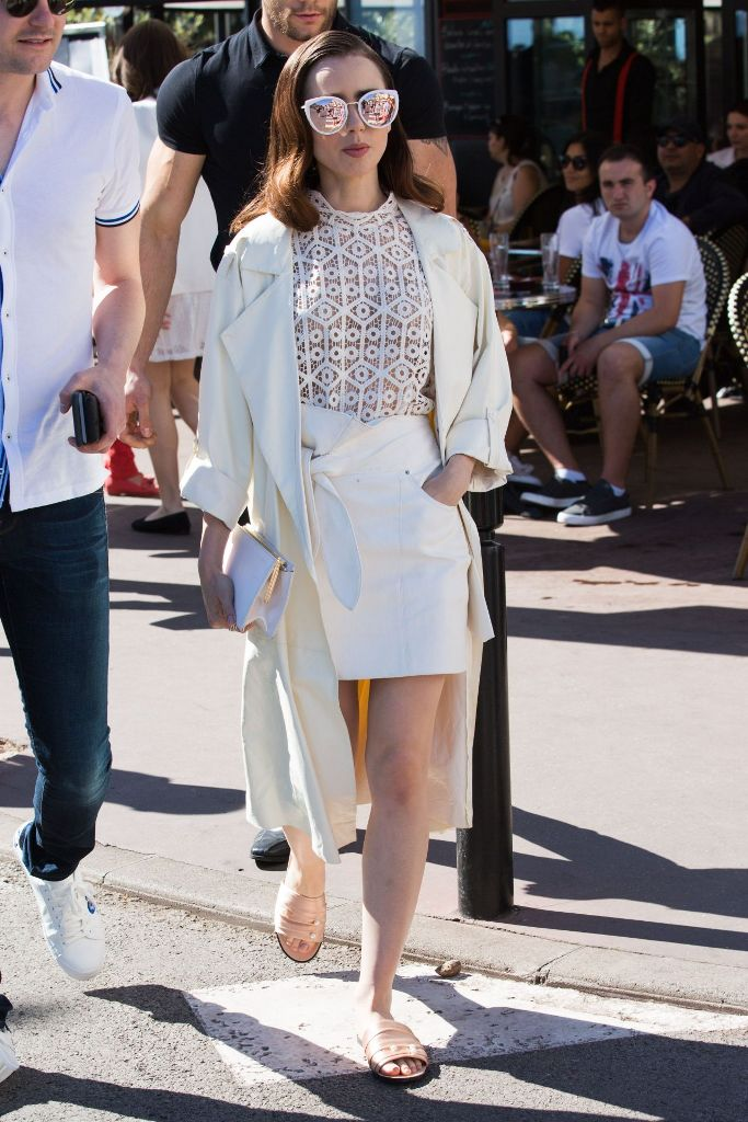 Lily Collins Street Style at Croisette in Cannes, France
