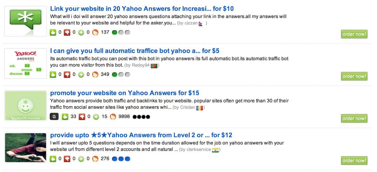 Yahoo Answers: acquistare link, spam e posizionamento