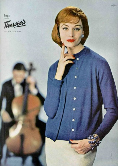 Model in blue sweater set in ad for Timwear 1957 photo by Guy Arsac