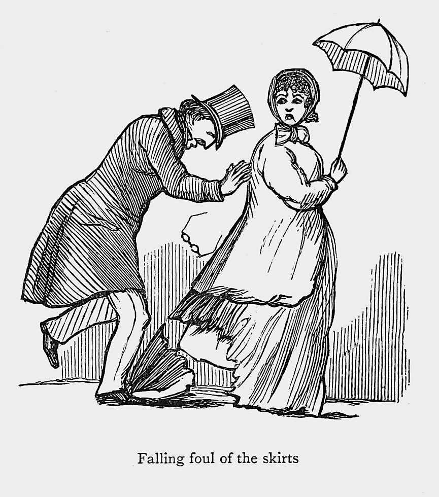 """Falling foul of the skirts"",  an 1862 cartoon by the writer William Makepeace Thackeray about clumsy awkwardness in public"