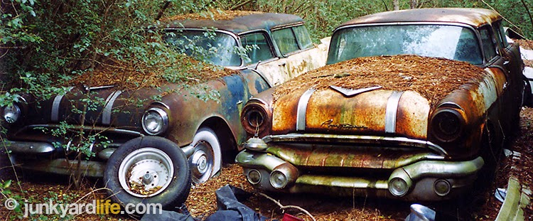 Two rare, 2-door, Pontiac Safari wagons were discovered rotting in weeds.