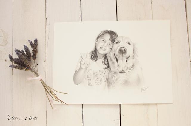 Retrato dibujado a lápiz de una niña y su mascota