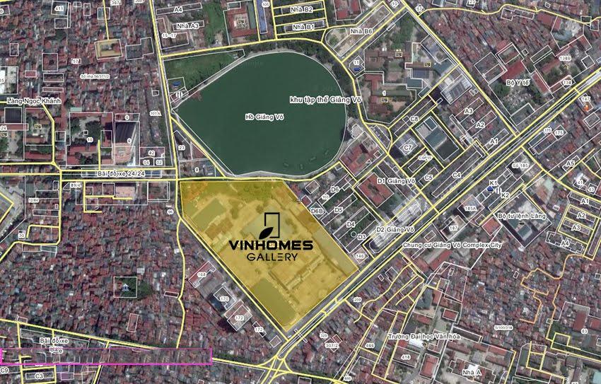 Vị trí dự án chung cư Vinhomes Gallery 148 Giảng Võ