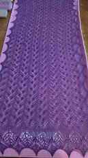 Madli Shawl in Purple Alpaca. Pattern by Nancy Bush