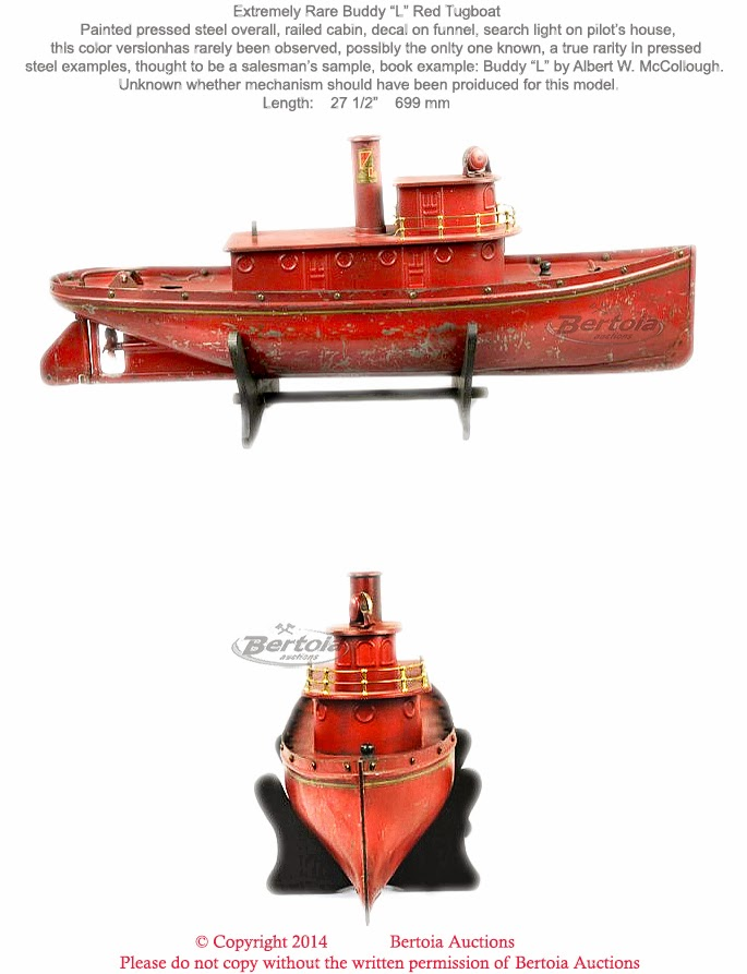 The above red tugboat is the rarest because it perhaps was a saleman's  sample.