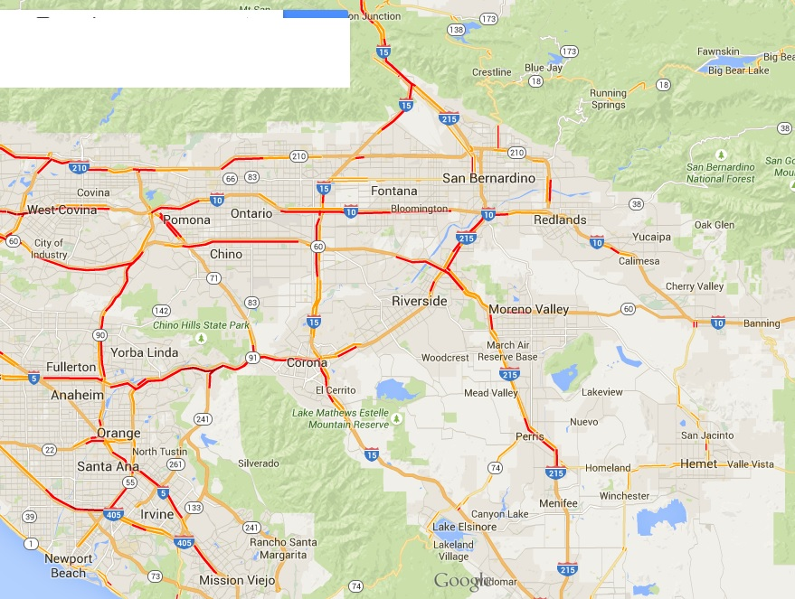 La Freeway Traffic Map.La Traffic Expert