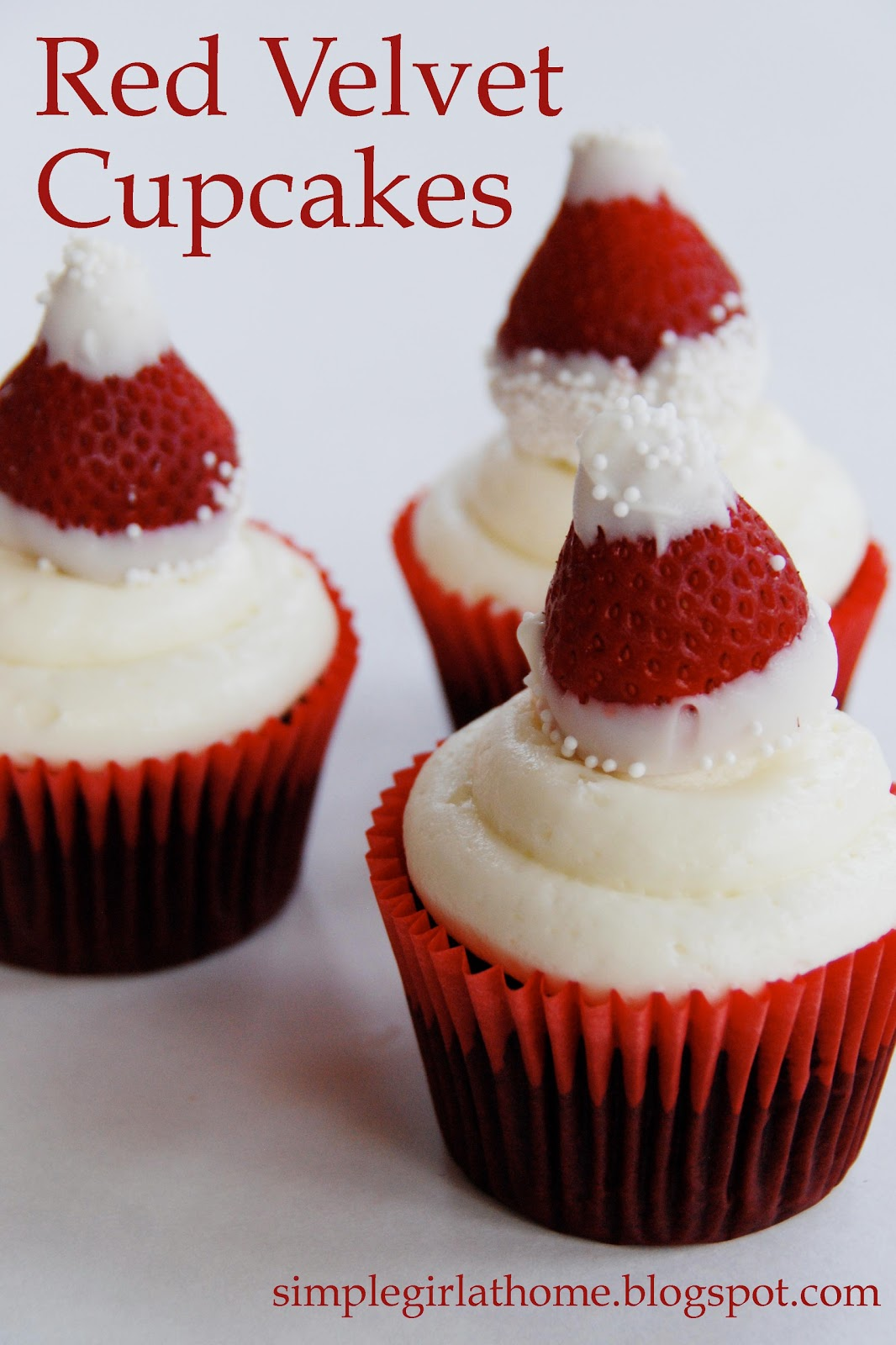 Simple Girl Red Velvet Cupcakes With Strawberry Santa Hats