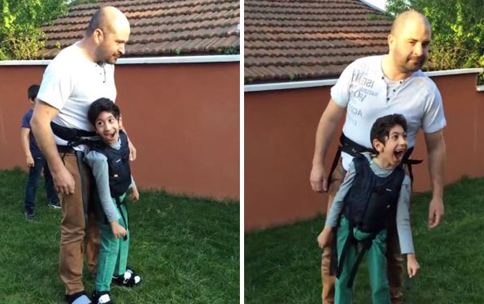 40 Times 2016 Restored Our Faith In Humanity - This Father Takes His Paralyzed Son For A Walk And The Boy's Reaction Says It All