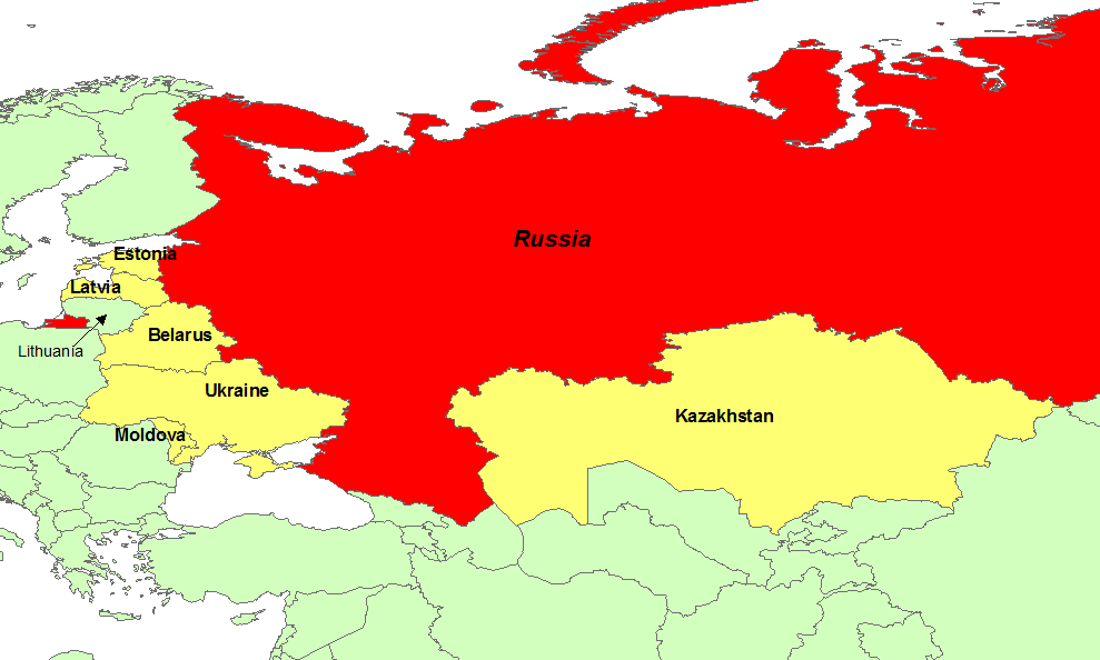 Map Of Russia And Surrounding Countries