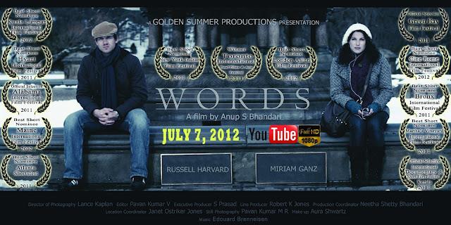 """Cartel del cortometraje """"Words"""" con Miriam Liora y Russell Harvard"""