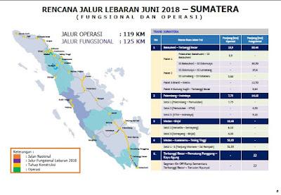 Jalur Jalan Mudik Lebaran tahun 2018 Pulau Sumatera. Sumber : PUPR.