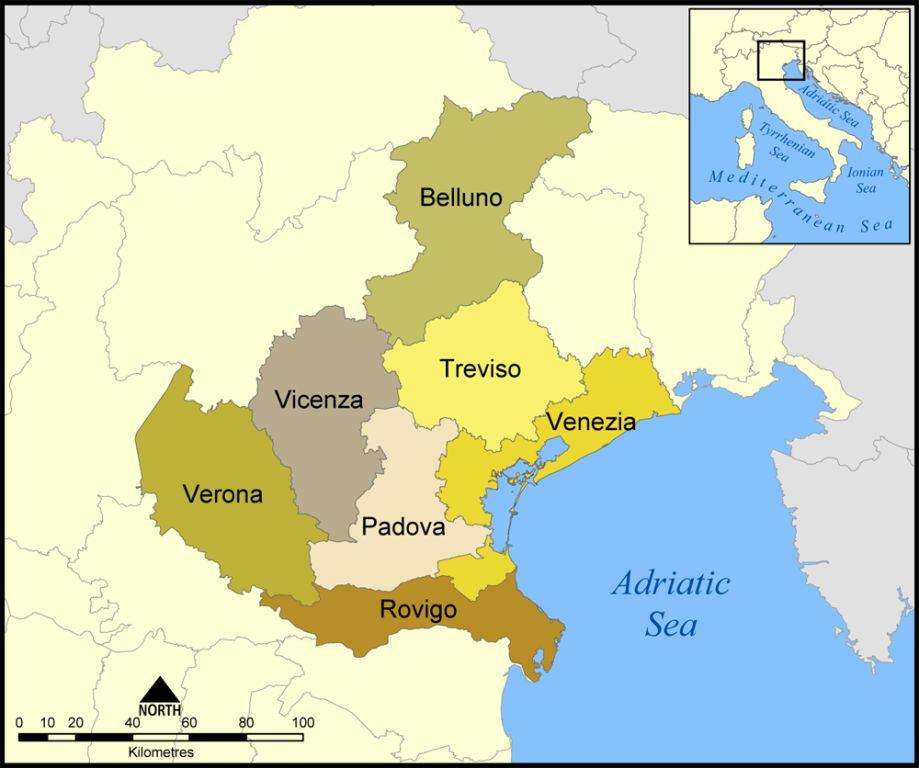 Cartina Politica Del Veneto.Mappa Della Citta Di Provincia Regionale Italia Cartina Politica Della Veneto