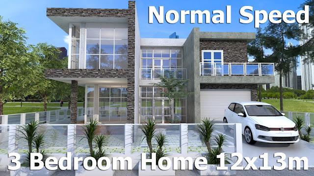 sketchup modern home design 12 x 13 m normal speed. Interior Design Ideas. Home Design Ideas