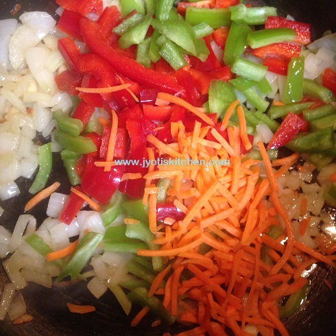 Now Add Carrot Red Capsicum And Green You Can Any Veggie Of Your Choice