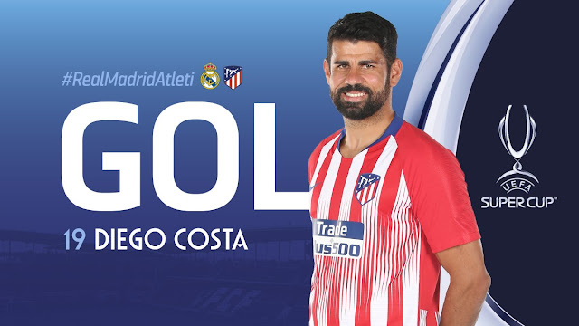 Diego Costa scores for Atletico Madrid against Real Madrid UEFA Super cup