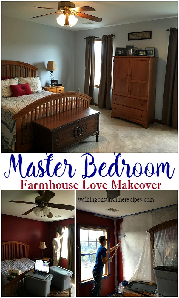 How to Bring Farmhouse Love of Decor to the Master Bedroom from Walking on Sunshine Recipes.