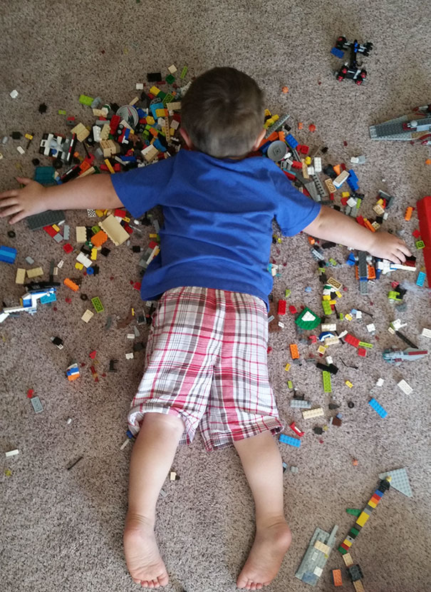 15+ Hilarious Pics That Prove Kids Can Sleep Anywhere - Napping On Legos. My Son May Be Immortal