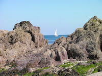 yacht through rocks on cawsand beach at low tide