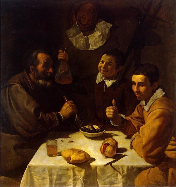 Diego Velázquez - Tres hombres a la mesa - c. 1617