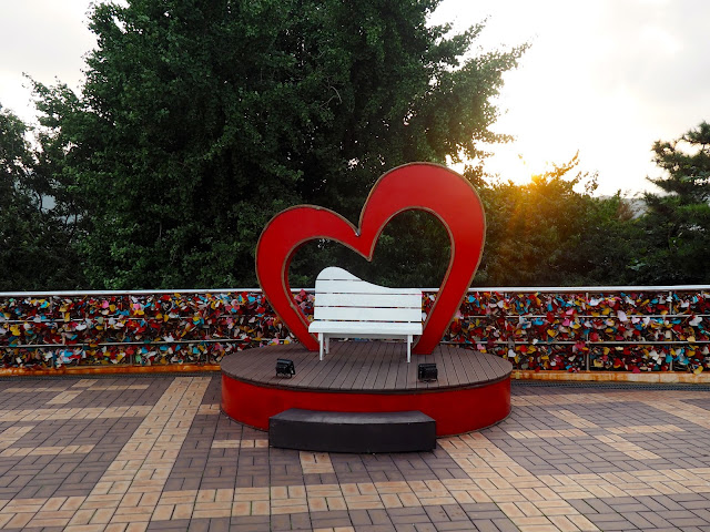 Plastic hearts and bench in Yongdusan Park, Nampo-dong, Busan, South Korea