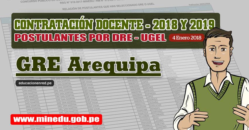GRE Arequipa: Lista de Postulantes por UGEL DRE - Contrato Docente 2018 (.PDF) www.grearequipa.gob.pe