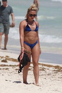 Gabby Allen in a Blue Bikini at a Beach in Tulum
