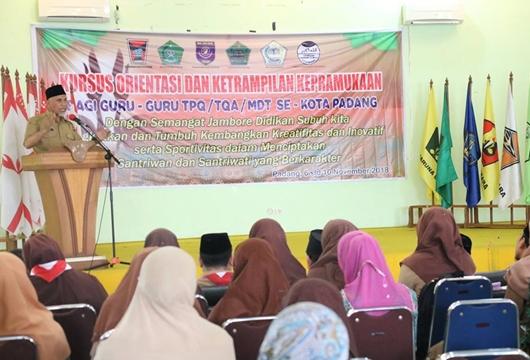 Bagian Kesra Kota Padang Gelar Kursus Keterampilan Kepramukaan Bagi Guru-guru TPQ/TQA/MDTA