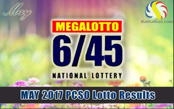 Results: May 2017 MegaLotto 6/45 PCSO Lotto