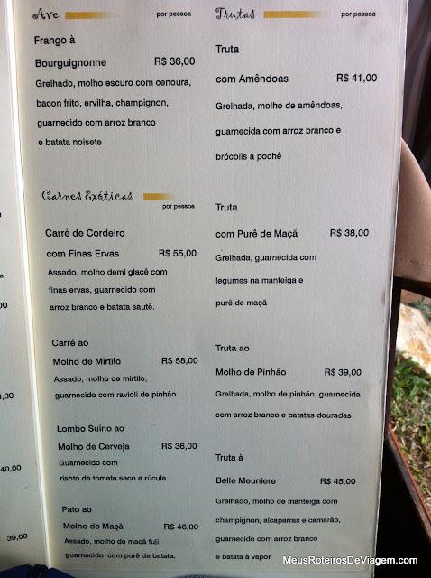 Cardápio do restaurante Pequeno Bosque - São Joaquim/SC