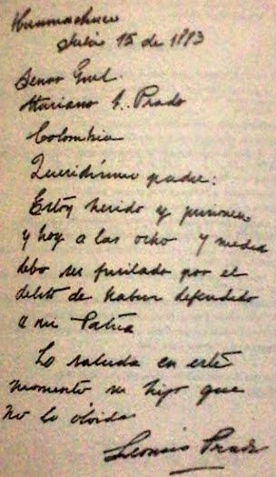 Imagen de la Carta de Leoncio Prado a su padre
