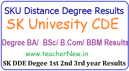 SK University Distance Degree Results, SKU DDE/ CDE Degree 1st/ 2nd/ 3rd year Years Results for BA B.Sc. B.com BCA BBM, BCA, BBA Results SKU Distance Results @ www.skucde.com,