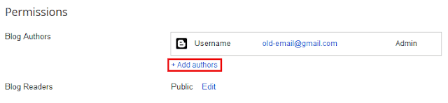 adding author to blogger to change email id