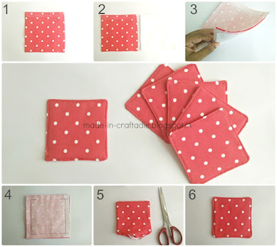 Free sewing pattern DIY Fabric Coasters