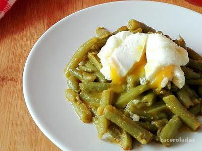 Judias verdes salteadas con huevo poché