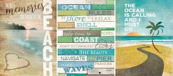 Beach Sayings Art on Wood by Marla Rae