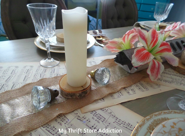 How I Created a Warm Winter Tablescape in 10 Minutes!  mythriftstoreaddiction.blogspot.com  Vintage doorknobs paired with birch slices create rustic charm and whimsy!