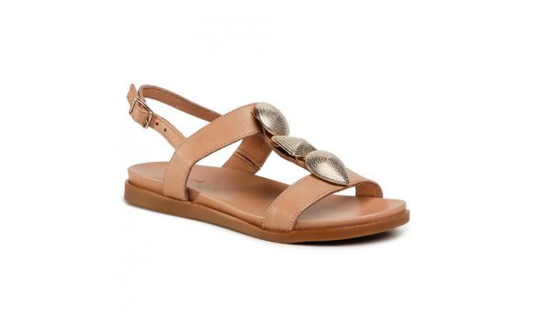 Sandale femei maro de vara fara toc piele naturala firma GINO ROSSI