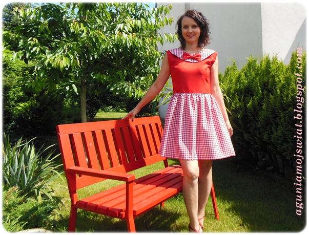 Sukienka w kratkę  Vichy z obszytym zamkiem