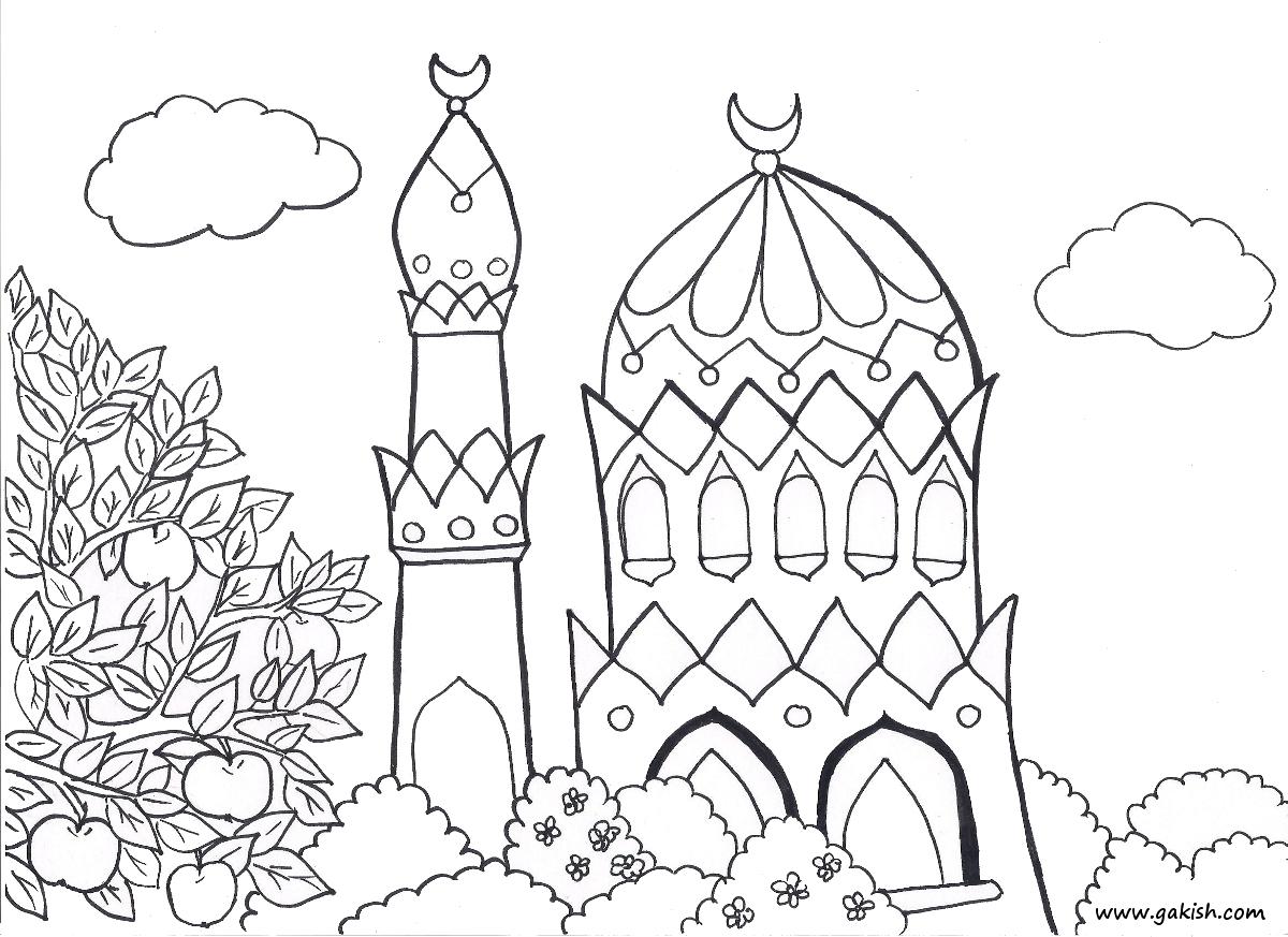 Gambar Mewarna Kartun Islami