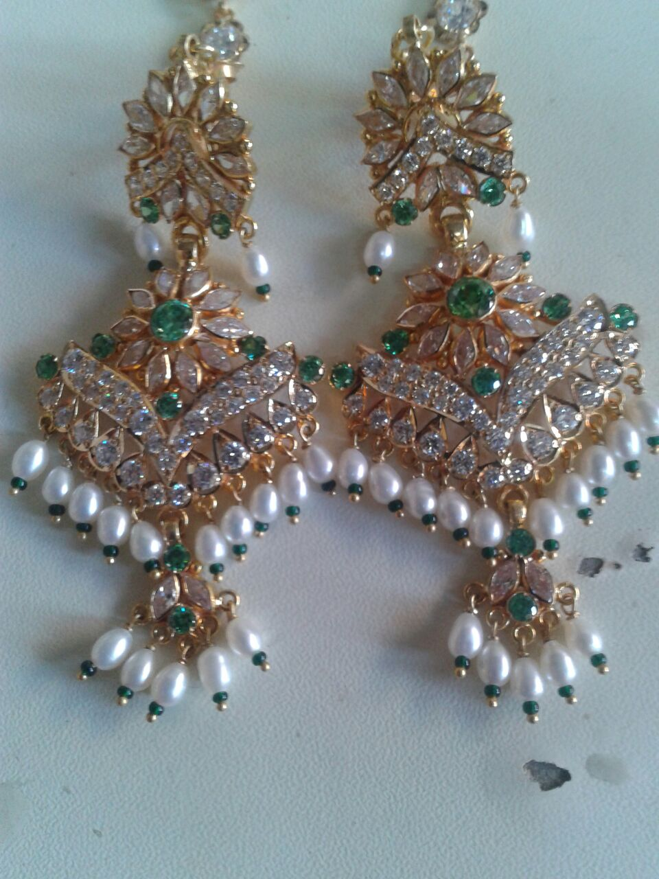gold green wedding earrings index traditional collection floral rajasthani design jhumki color oxidised