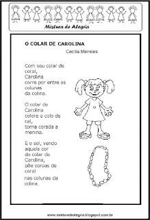 Poesia o colar de Carolina