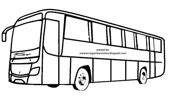 Gambar Mewarnai Mobil Bus