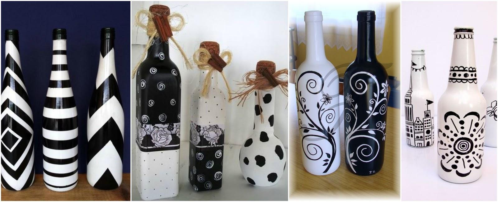 14 Ideas Para Decorar Botellas De Vidrio En Blanco Y Negro