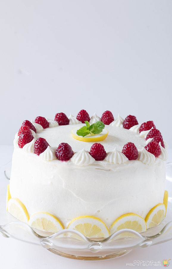 Luscious four layer lemon cake with lemon curd | Cooking on the Front Burner