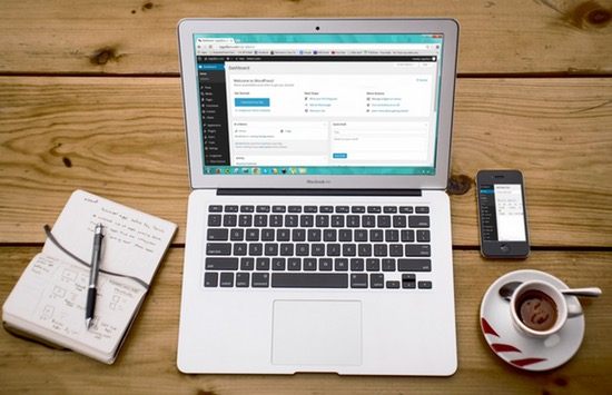 laptop, coffee, smart phone, notebook