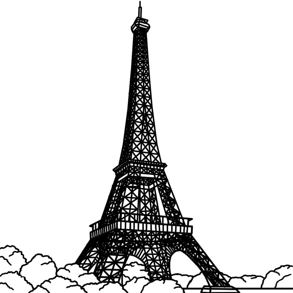 dessins et coloriages page de coloriage grand format imprimer dessin de la tour eiffel en. Black Bedroom Furniture Sets. Home Design Ideas