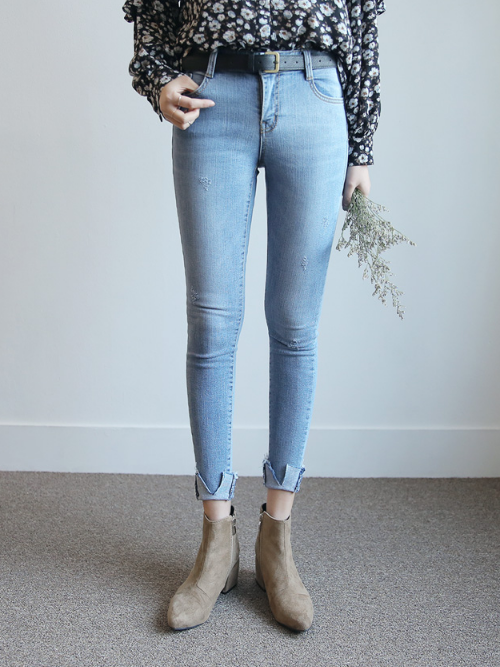 Cutout Cuffs Faded Denim Jeans