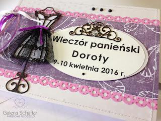 fioletowo-różowy albumik na wieczór panieński pamiętnik