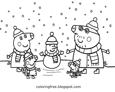 Pretty winter cartoon Peppa pig family printable easy colouring book page for children to colour in