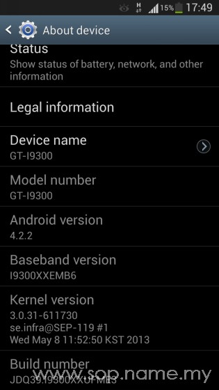 Update Samsung S3 kepada Android 4.2.2